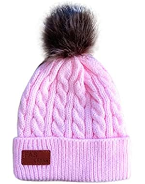 Forev For 2-8 Years Old Baby Boys Girls Warm Beanie Cap Knit Ball Pompom Hats