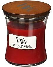 WoodWick Granaatappel zandlopervormige kleine geurkaars in glazen pot, 85 g, glas, rood/doorzichtig, 6,9 x 6,8 x 7,8 cm