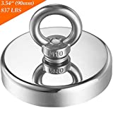 "Wukong 837 lbs Pulling Force(380KG) Super Powerful Round Neodymium Magnet with Countersunk Hole and Eyebolt Diameter 3.54''(90mm) X Thick 0.70""(18mm) for Underwater Retrieving or Magnetic Fishing."