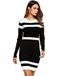 Women's Colorblock Striped Long Sleeve Cotton Knit Sweater Bodycon Dress