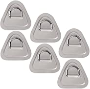 """TOBWOLF 6 Pack 3.15"""" / 8cm Stainless Steel D-Ring Patch for Inflatable Boat Kayak Dinghy SUP, Circular D-"""