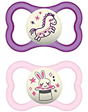 MAM Air Night Pacifiers (2 pack, 1 Sterilizing Pacifier Case), MAM Sensitive Skin Pacifier 6+ Months, Glow in the Dark Pacifier, Best Pacifier for Breastfed Babies, Baby Girl Pacifiers