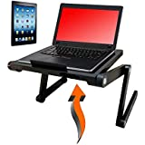 Vented Laptop&Tablet Stand by Desk York- Use it in Bed,Couch,Sofa or Desk-Great Birthday GIFT For Friends Men Women Student-Book Reading-Foldable Computer Stand For Office&Recliner-Lap Top Tray-Black