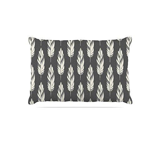 Kess InHouse Amanda Lane Feathers Black Cream  Dark Pattern Fleece Dog Bed, 30 by 40
