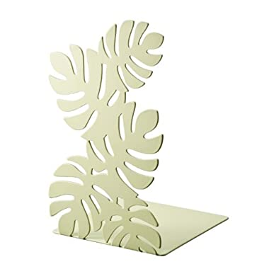 Leaf - Pair of Green Metal Bookends with Cutout Leaf Pattern, 8  Tall