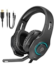 Gaming Headset PS4, PC Headset also for Xbox One S, X, with Soft Breathing Earmuffs, Adjustable Mic, Mute& Cycling RGB Unlimitless Colors, Stereo Headphone for Laptop, Nintendo Switch