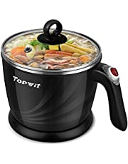 TOPWIT Electric Kettle, Mini Hot Pot, Rapid Noodles Cooker with Multi-Function for Steam, Egg, Soup and Stew with Over-Heating Protection, Boil Dry Protection, Dual Power, 1.2L, Black