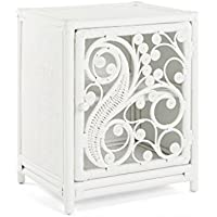 KOUBOO 1110079 Peacock Nightstand Rattan One Door Opening Left Color, Medium, White