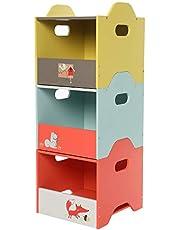 Labebe -Baby Toy Storage Bins, Kids Wooden Storage Cubes Organizer for 1-5 Years Old, Animal Print Storage in Home & Nursery, Toy Chest for Children, Stackable 3 tier Organizer for Boys & Girls - Orange Fox