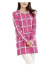 ARJOSA Women's Plaid Checkered Crewneck Slim Fit Open Front Cardigan Coat