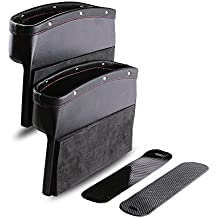 Car Seat Pockets PU Leather Car Console Side Organizer Seat Gap Filler Catch Caddy for Cellphone Wallet Coin Key with Non-Slip Mat 9.2x6.5x2.1 inch Black(2 Pack)Powertiger