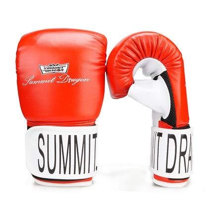 J.S.U キックボクシンググローブ 大人用 サンダグローブ ハーフフィンガーボクシング イエローライン Dew サムズパンチバッググローブ レッド Large