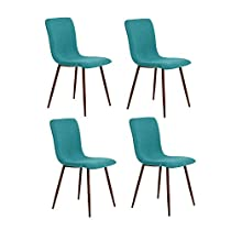 HomyCasa Dining Chair Set Dining Room Chairs Eiffel Fabric Style Side Chair Metal Legs