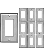 [10 Pack] BESTTEN 1-Gang Decorator Metal Wall Plate with White or Clear Protective Film, Brushed Finish, Anti-Corrosion Stainless Steel Outlet and Switch Cover, Standard Size, Matching Screws Included, cUL Listed, Silver