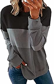 WELINCO Womens Long Sleeve Sweatshirts Loose Tunic Tops Crew Neck Shirts Casual Warm Color Block Pullovers