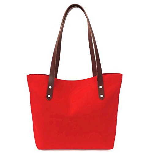 Red Canvas Market tote with Leather Straps by Spicer Bags