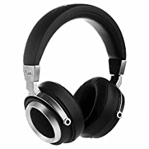 LASMEX L-85 Semi-Open Hi-Fi Monitor Headphones, Wired Over-Ear Headset with In-line Microphone and One Button Control (Black and Sliver)
