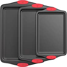Vremi 3 Piece Baking Sheets Nonstick Set - Professional Non Stick Sheet Pan Set for Baking - Carbon Steel Baking Pans Cookie Sheets with Red Silicone Handles - has Quarter and Half Sheet Pans