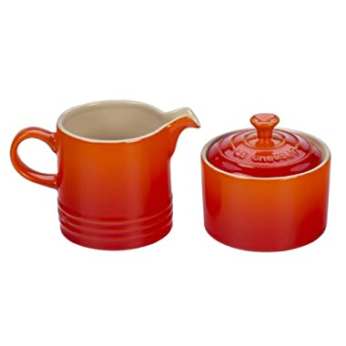 Le Creuset Stoneware Cream and Sugar Set, Flame