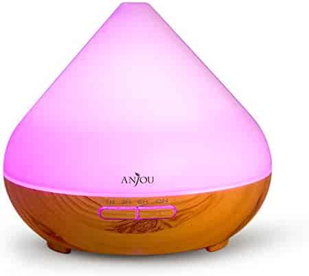 Essential Oil Diffuser Anjou Aromatherapy Diffuser 300mL, Ultrasonic Aroma Humidifier (Up to 8H Use, Mist Control, Waterless Auto Shut-Off, 4 Timer Settings, 7 Color LED Lights, Wood Grain, BPA-free)
