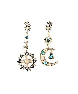 Romantique attrayant Spécial Opale Soleil et la Lune Boucles d'oreilles en métal Boucles d'oreilles pendantes pour la femme (1 paire)