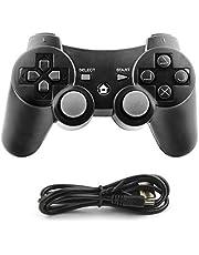 Diswoe Manette de Jeu à Distance sans Fil pour PS3 Playstation 3 Double Shock avec câble de Charge USB