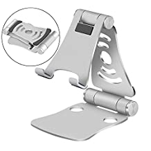 Portable Universal Stand Holder for Phone, Laptop, Ipad & Tablet, KSENDALO Foldable, Adjustable Aluminum Holder for iPhone, iPad, Samsung, PC tablet and all smartphone/laptop devices, Silver
