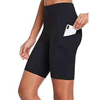 "BALEAF EVO Women's 8"" Stretchy Soft Yoga Shorts High Waist Workout Compression Biker Shorts w Pockets Black Size M"
