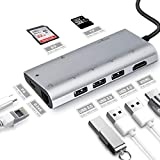 USB C Hub, 8 in 1 Multi-Port Type C Adapter Thunderbolt 3 with Type C PD 2.0 Charging Port, HDMI Output,3 USB 3.0 Ports, Gigabit Ethernet Port,SD/MicroSD Card Reader (Silver)