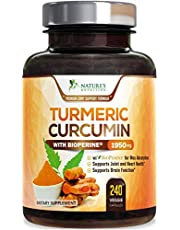Turmeric Curcumin with BioPerine 95% Curcuminoids 1950mg with Black Pepper for Best Absorption, Made in USA, Best Vegan Joint Support, Turmeric Supplement by Natures Nutrition