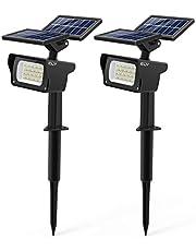 CLY Solcellslampa trädgård 【Ny Pro-version】, Solcellslampor för trädgården med 3 ljusstyrkenivåer, 40 lysdioder vattentät solcellsstrålkastare, trädgårdsbelysning för träd, buskar, vägg, buskar (2 stycken)