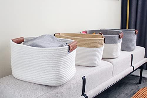 Cotton Rope Basket Set of 2 Decorative Woven Baskets for Storage Bins Medium Rectangle Basket with Leather Handle Jute Toy Organization Bedroom Living Room Shelves