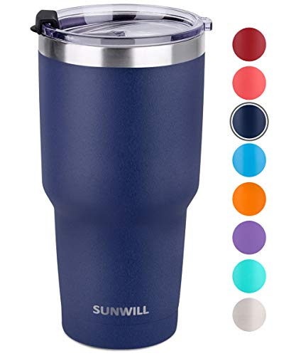 SUNWILL 30oz Tumbler with Lid, Stainless Steel Vacuum Insulated Double Wall Travel Tumbler, Durable Insulated Coffee Mug, Powder Coated Navy, Thermal Cup with Spill Proof Lid