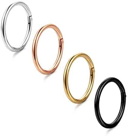 ORAZIO 4Pcs 16G Stainless Steel Nose Ring Body Piercing Ear Hoop Seamless Clicker Ring