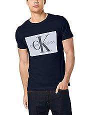 Calvin Klein Jeans Men's Monogram Box Logo T-Shirt, Blue, M