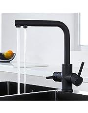 CREA keukenkraan draaibaar 360 ° kraan keukenkraan mengkraan gootsteen mengkraan ééngreeps wastafelmengkraan met uittrekbare dubbele spoeldouche zwart