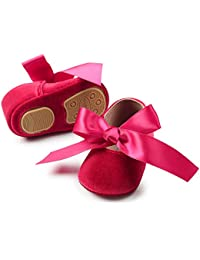 Baby Girls' Party Shoes Newborn Soft Sole Walkers Shoes Infant Crib Shoes (4.7 (6-12 Months), A-red)