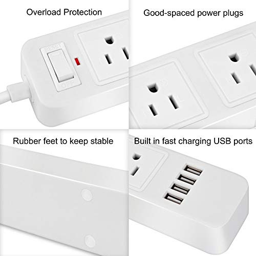 2 Prong Power Strip Surge Protector with 3 Outlets and 4 USB Charging Ports 6.6 Ft Long Extension Cord for Smartphone Tablets Home Office White