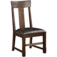 Emerald Home Ashland Brown Dining Arm Chair with Upholstered Faux Leather Seat And Nailhead Trim, Set of Two