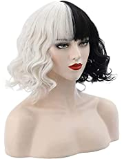 12 Inch Black and White Wig with Necklace for Women Girls Halloween Party Short Curly Bob Synthetic wigs with bangs for Costume Cosplay Cruella Deville
