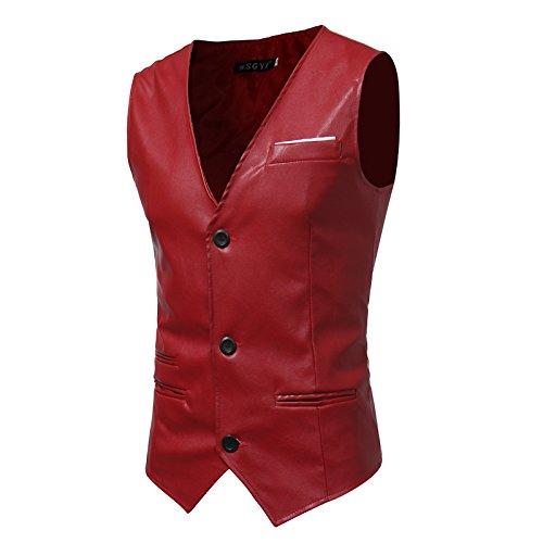 Männer - Slim - Anzug, Weste, Mann ist Einfachheit, self - anbau, pu Haut, Herr Weste,Rot - rot,M