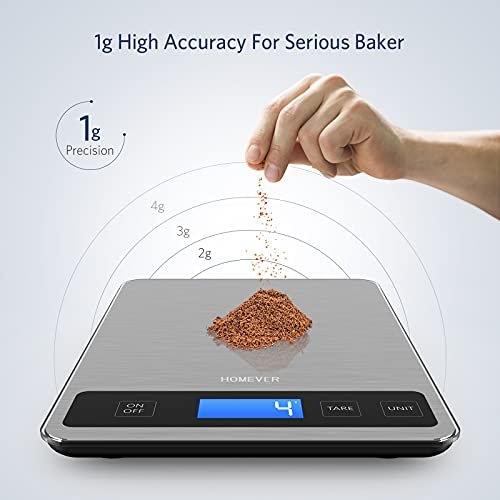 Food Scale, Homever Digital Kitchen Scale Weight Grams and oz for Weight Loss, Baking, Cooking, 1g/0.1oz Precise Graduation