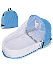 Foldable Baby Bed, Baby Travel Portable Baby Crib,Infant Sleeper with Awning and Mosquito Net, Easy to Carry and Open Convenient Occasions Park, Beach, Living Room, It is Very Convenient!