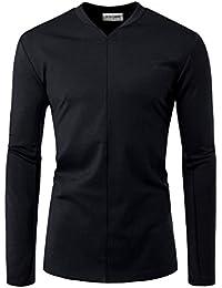 Men Long Sleeve Slit V Neck Front Line Point Trendy T Shirts