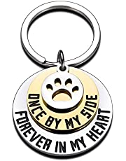 Dog Cat Pet Memorial Gifts Keychain for Pet Lover Remembrance Jewelry Gifts for Loss of Pet Sympathy Condolences Gifts Dog Remembrance Gifts Men Women Pet Owner Once by My Side Pet Keepsake Key Ring