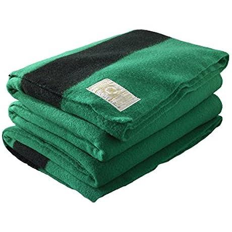 Hudson Bay 6 Point Blanket Green With Black Stripes