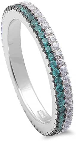Simulated Aquamarine & Cubic Zirconia Band .925 Sterling Silver Ring Sizes 4-11