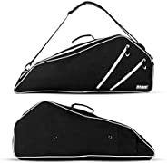 Fitdom Black Tennis Racket Bag - Can Carry Up to 3 Racquets. Perfect for Men, Women, Junior & Kids. Made f