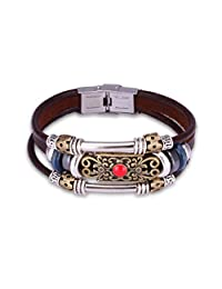 Fashion Plaza Stripled Brass Flower Vintage Deep Brown Leather Beaded Bracelet With Ruby L180