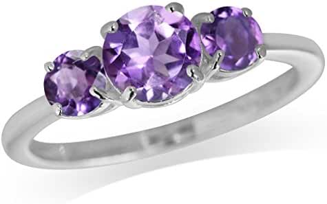 1.29ct. 3-Stone Natural Amethyst 925 Sterling Silver Ring